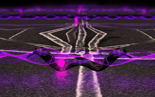 In a step forward for quantum computing in silicon — the same material used in today's computers — researchers successfully coupled a single electron's spin, represented by the dot on the left, to light, represented as a wave crossing over the double-welled silicon chamber, known as a quantum dot, where the electron is trapped. The goal is to use light as a messenger to convey the quantum information to other locations on a futuristic quantum computing chip. Image courtesy of Emily Edwards, University of Maryland