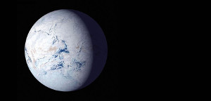 """A NASA artist's impression of Earth as a frigid """"'snowball"""" planet. New research from the University of Washington indicates that aspects of an otherwise habitable-seeming exoplanet planet's axial tilt or orbit could trigger such a snowball state, where oceans freeze and surface life is impossible. Image credit: NASA"""