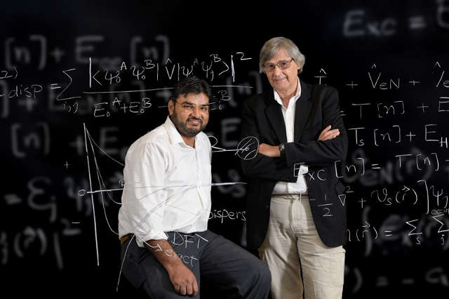 """UD doctoral student Muhammed Shahbaz (left) and his adviser, Prof. Krzysztof Szalewicz, have shown that the """"fudge factors"""" commonly used with a theory for predicting how atoms will interact are actually based on a faulty assumption. Photo by Evan Krape"""