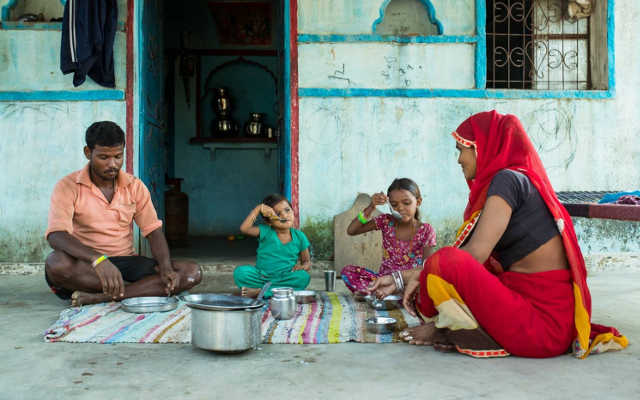 A family in India has a meal together.Images from India courtesy of Mayank Sharma.