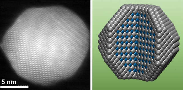 A new catalyst developed at Brown combines an outer shell of platinum atoms (grey spheres in the rendering on the right) with ordered layers of platinum and cobalt atoms (blue spheres) in its core. The ordered layers help to tighten the shell and protect the cobalt, which makes that catalyst more reactive and durable. Image credit: Sun lab / Brown University