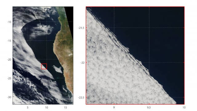 Westward-moving cloudiness transition in the southeast Atlantic off the coast of Africa at 130 pm local time on 26 May 2014. (left) regional view and (right) close up. Image credit: North Carolina State University