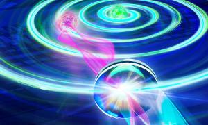 Die spiralförmige Wellenfront des elliptisch polarisierten Lichts trifft leicht schief auf die Linse, wodurch der Eindruck entsteht, die Quelle des Lichts liege etwas abseits seiner tatsächlichen Position. Image credit: IQOQI Innsbruck/Harald Ritsch
