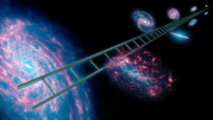 An artist's conception of what's called the cosmic distance ladder—a series of celestial objects, including type Ia supernovae that have known distances and can be used to calculate the rate at which the universe is expanding. Illustration is courtesy of NASA/JPL-Caltech.